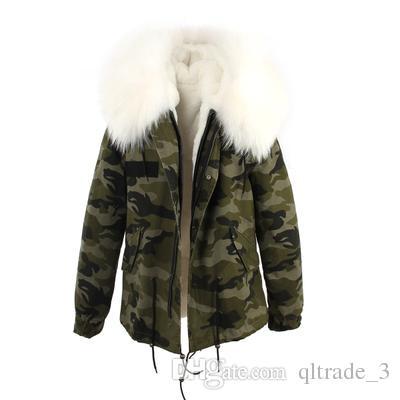 2018 JAZZEVAR white fur trim 100% rabbit fur lining Camouflage coat mini parkas fur jackets winter snow coats