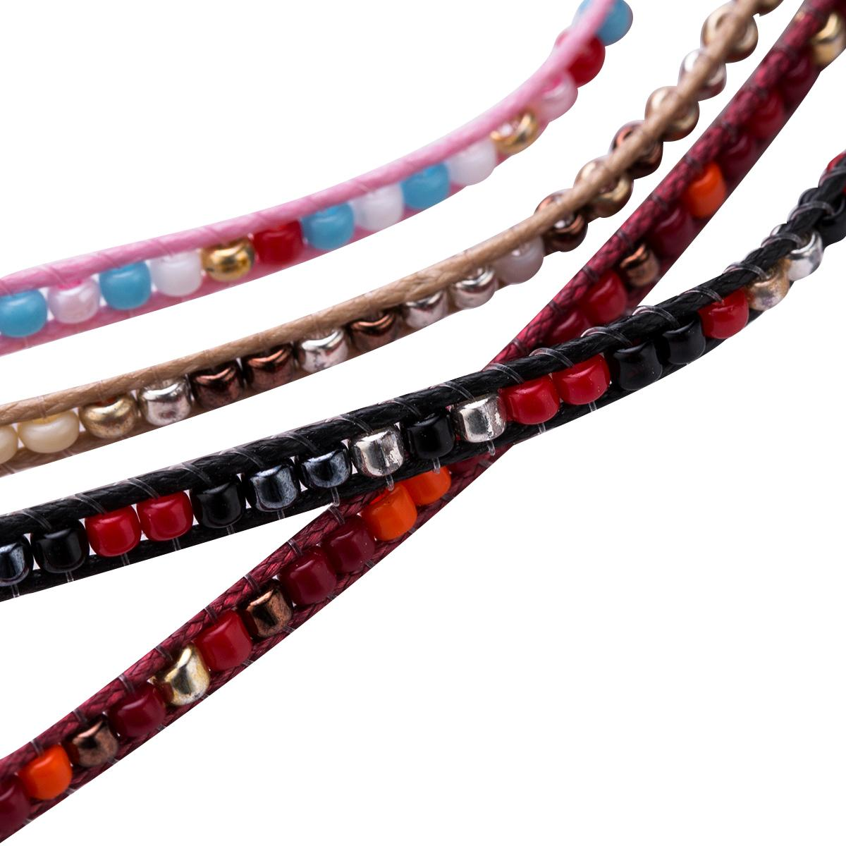 Bohemian Style Hand Braided Rope Chain Charm Small Acrylic Beads Bracelet For Women Men Adjustable Handmade Jewelry Accessories Gift