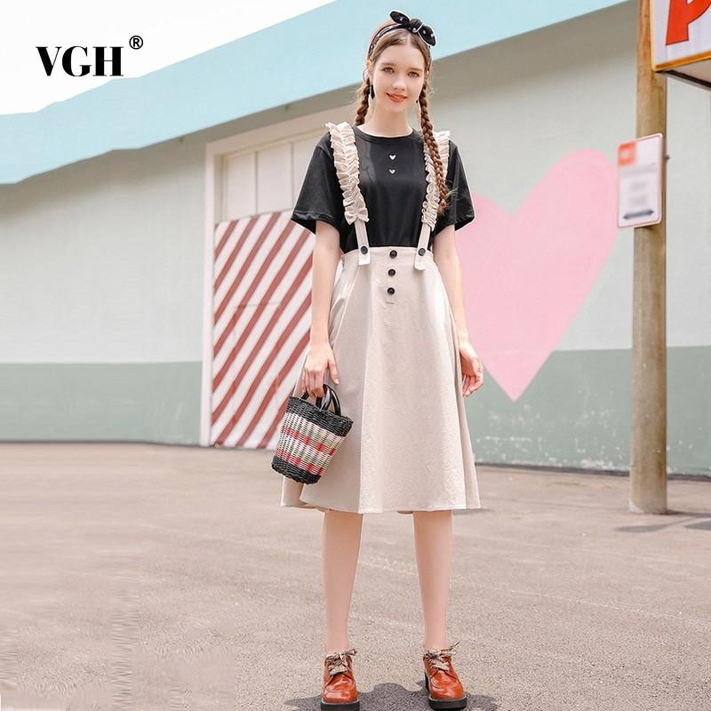 b58f8a8ee VGH Summer Women s Skirt Casual High Waist Loose Solid Vintage Suspender A  Line Female Skirt Korean Fashion New 2018