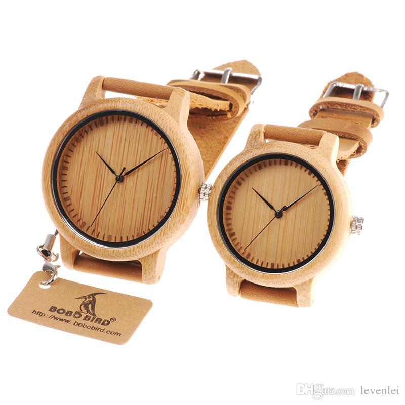 Bobo Kuş Kadın Erkek Saatler Bambu Ahşap İzle Gerçek Deri Band Kuvars İzle Erkekler Için Hediye Olarak Bayanlar OEM Kabul