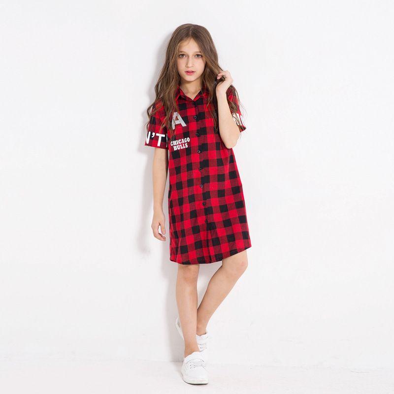 2018 big girl plaid dresses christmas teenager fashion letter shirts dress kids clothing children red casual clothes from ywbaby 6175 dhgatecom - Christmas Plaid Dress