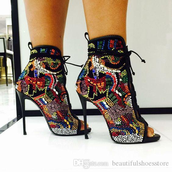 Luxury Mixed Color Comic Beaded Crystal Bridal Wedding Shoes Woman Peep Toe Lace Up Botas Stiletto High Heels Glitter Rhinestone Ankle Boots