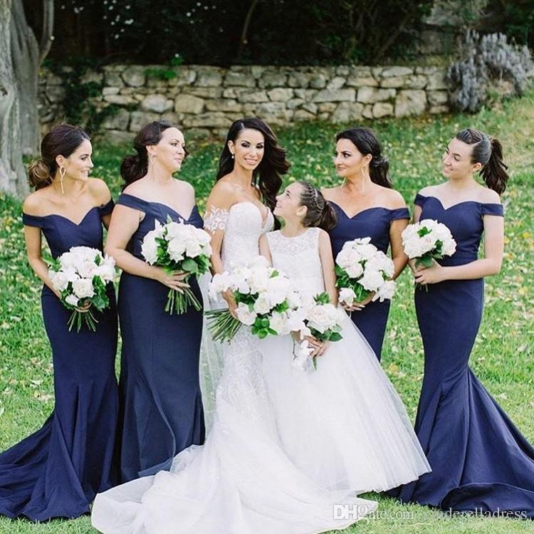 Country Navy Blue Mermaid Bridesmaid Dresses 2018 Off The Shoulder Satin  Custom Made Long Evening Gowns Wedding Guest Dresses Sweep Train Sale  Bridesmaid ... 822d501a643e