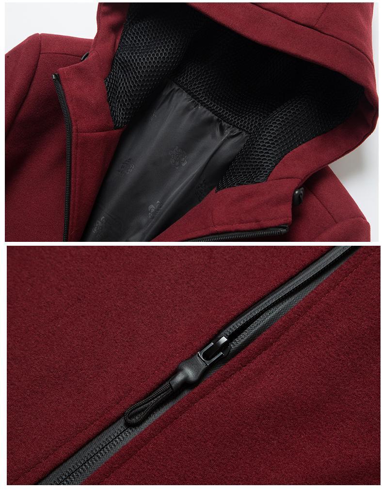 LONMMY 3XL Manteau en laine Coupe-vent style long Mélange de laine Décontracté Coupe ajustée Mode À capuche Survêtement Streetwear Nouveau 2017 Hiver