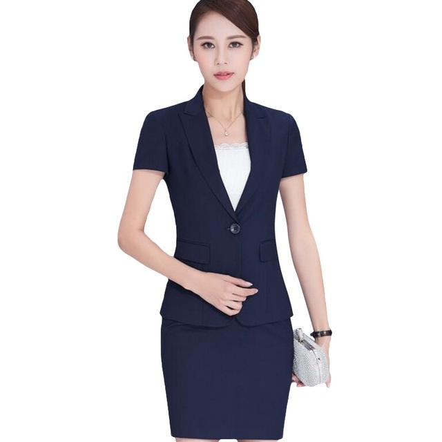 6650e983942f 2019 Summer Work Wear Women Skirt Suits Set Fashion Formal Short Sleeve  Slim Blazer With Skirt Office Ladies Plus Size Work Wear From Beasy112