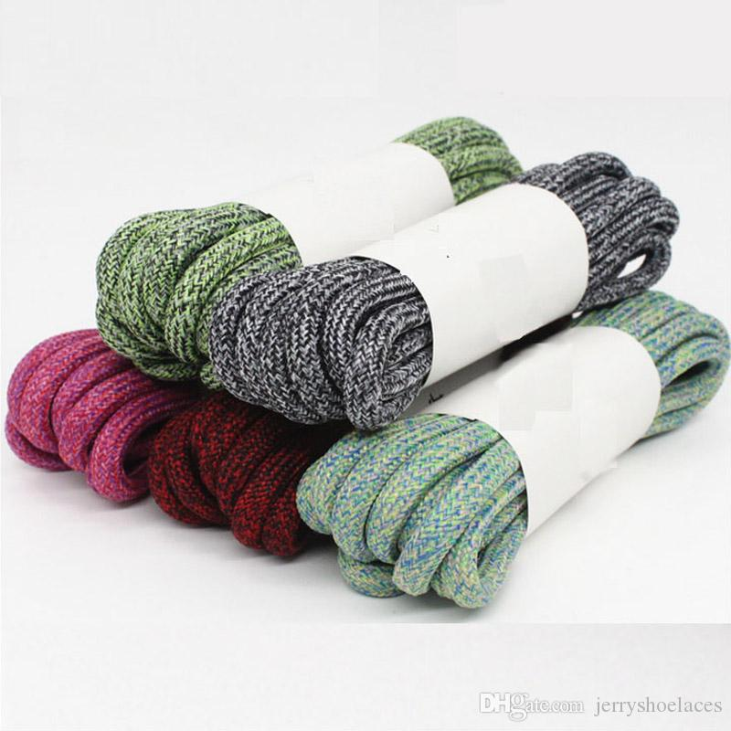 Unisex Mixed Color Round Cotton Shoelaces Athletic Stylish Sport Shoes Latchet For Running Climbing Camping 90cm&120cm