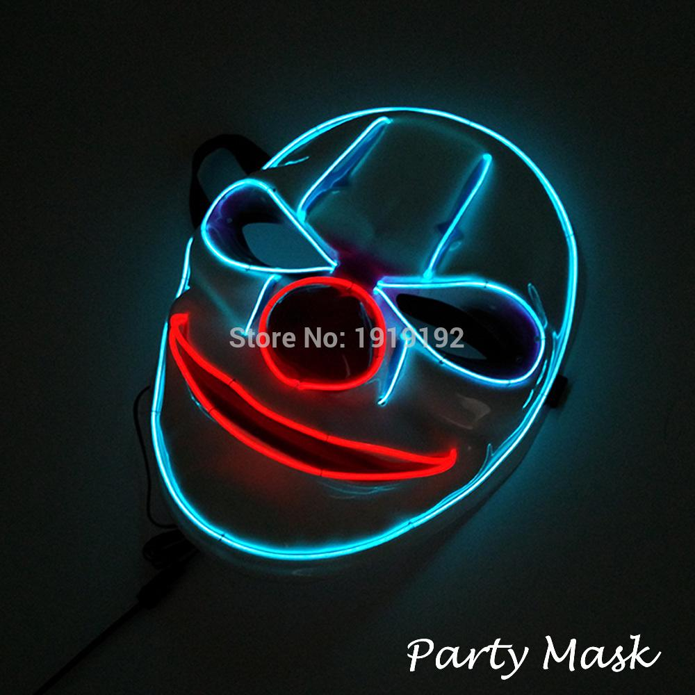 Free shipping Sound Flashing Glowing Clown Masks 10 colors Available El Wire Mask for Halloween Rave Mask Christmas Party Decor