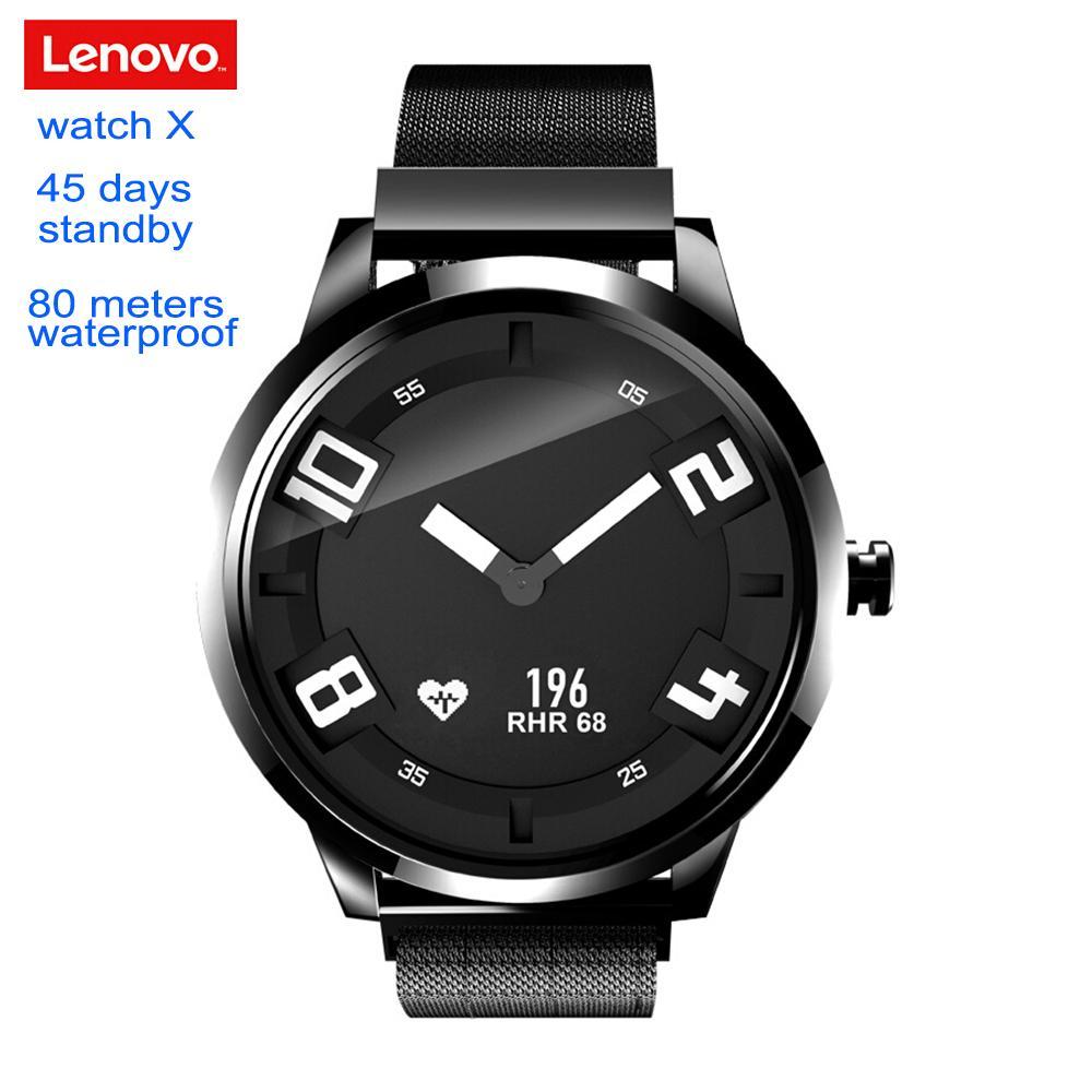 cd60673f930a Sport Armbanduhren Lenovo Uhr X Smartwatch 80 Meter Wasserdichte  Herzfrequenz Schlaf Monitor Schwimmen Smart Uhr Männer Frauen 45 Tage  Standby Armbanduhren ...
