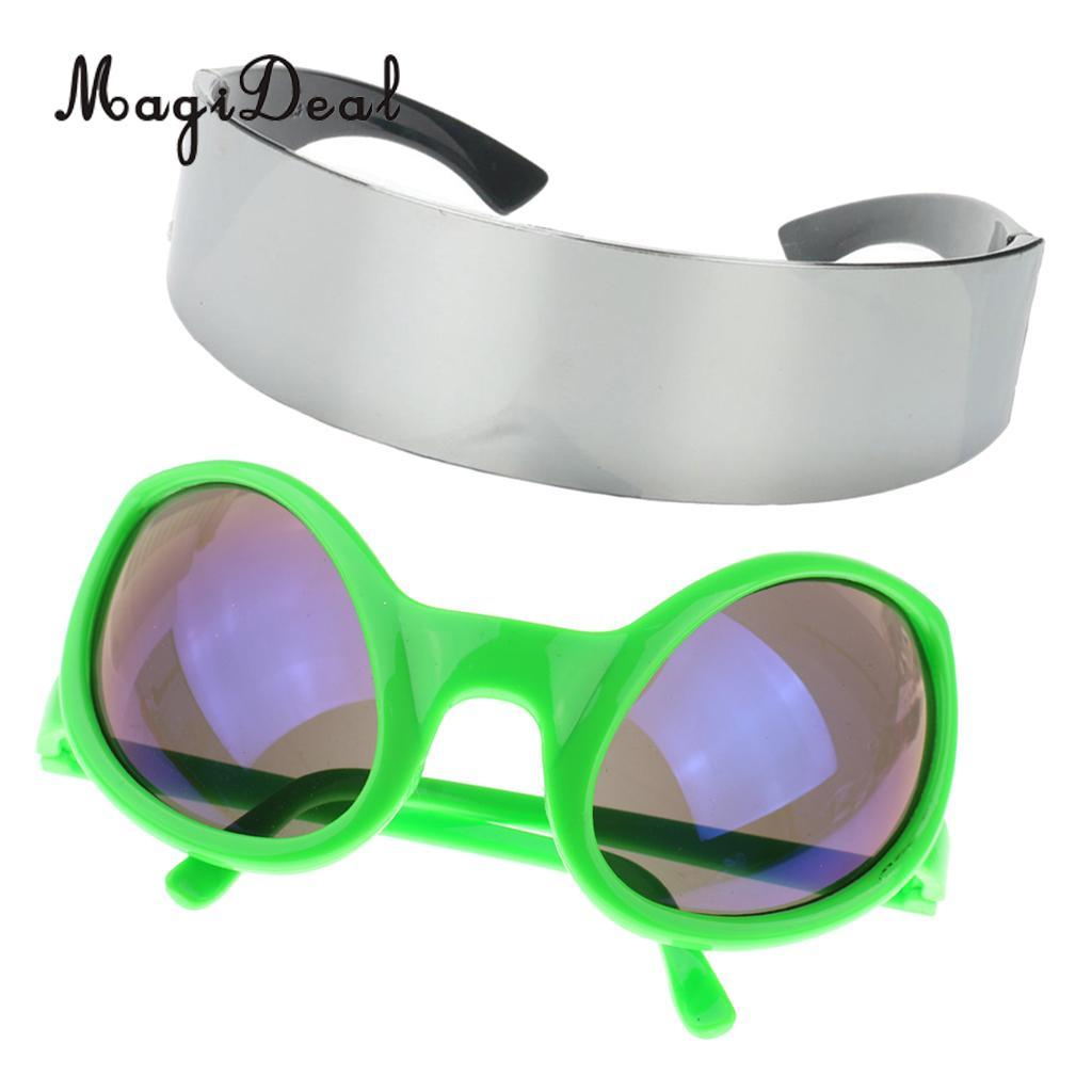 wholesale 2 Pieces Stylish Green Metallic Silver Outer Space Robot Alien Eyeglasses Shade Eyewear Future Soldier Sunglasses