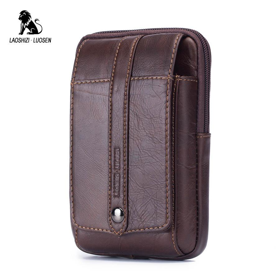 920725429c0cf Genuine Leather Men Fanny Waist Bag Cell/Mobile Phone Coin Purse Pocket  Male Belt Bum Pouch Pack Portable Travel Small Bag Messenger Bags For Men  Leather ...