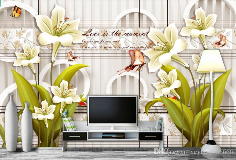 fondo de pantalla 3d lirio moderno Sala de estar Dormitorio Hotel TV Fondo Decoración de la pared