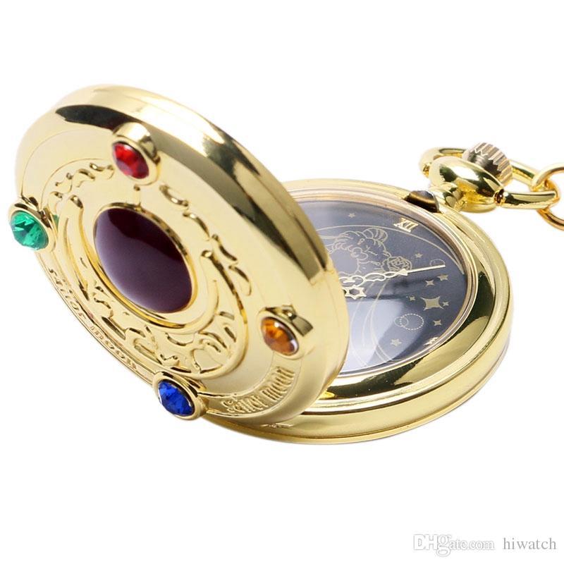 Moda Colorida Anime Sailor Moon Série Presente Mulheres Senhora Menina de Quartzo Relógio de Bolso Colar Relógios Melhor Presente