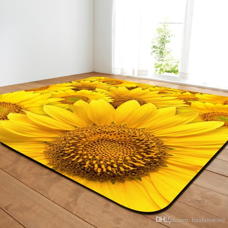 4 Sizes Sunflower Printed Rug And Carpet For Home Living