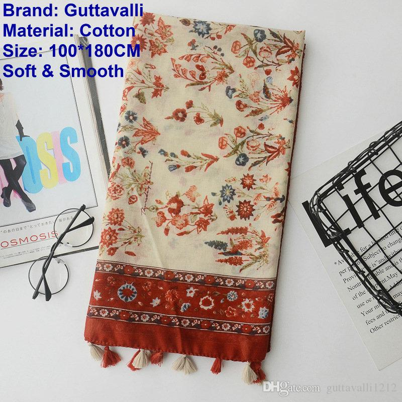 Guttavalli Women Small Flowers Cotton Tassel Long Shawl Female Chevron Dark Red Wrap Sunscreen Wine Floral Soft Totems Scarf