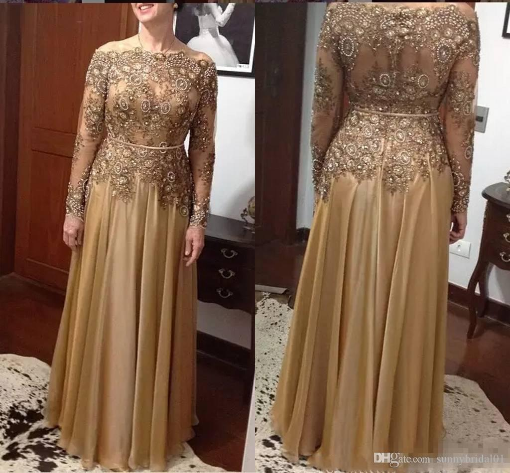 Cheap Modest Beaded Mother Of The Bride Dresses 2018 Long Sleeves Sequined Plus Size Lace Wedding Guest Gold Floor Length Evening Gowns