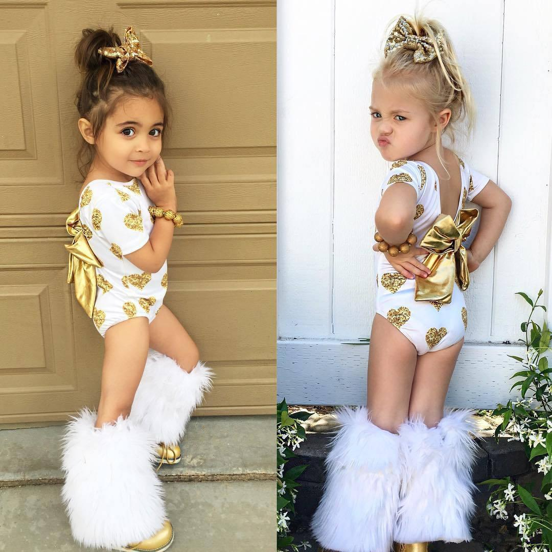 2018 baby girls summer rompers heart shape printing bow short sleeve cute clothes children girl newborn kids clothes with bows from opps mybaby