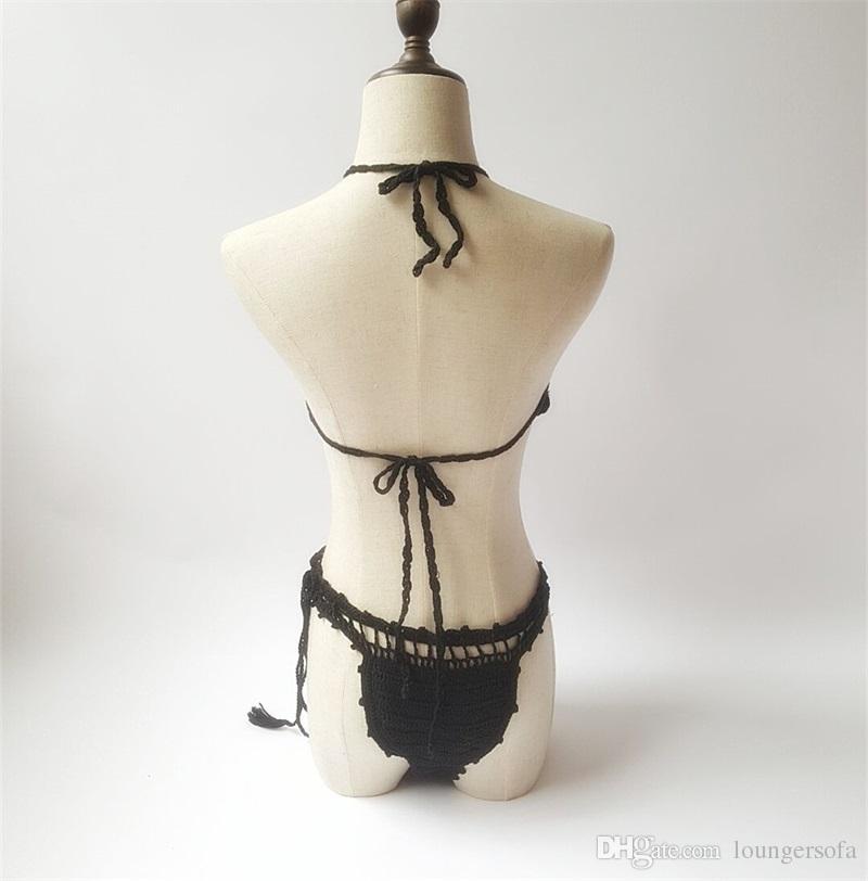 Mulher Maiô Two Piece Ternos Femme Bellyband Croche Sexy Backless Cinta de Volta Biquíni Senhora Swimwear Shell de Tricô Banho 45yh V