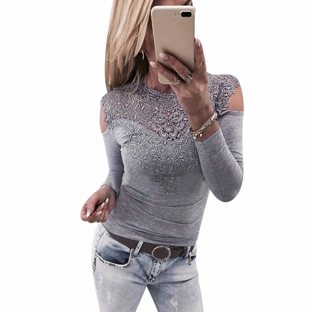 f7dac34409cf1f 2019 Sexy Oversized Cold Shoulder Tops Women Floral Lace Blouse ...