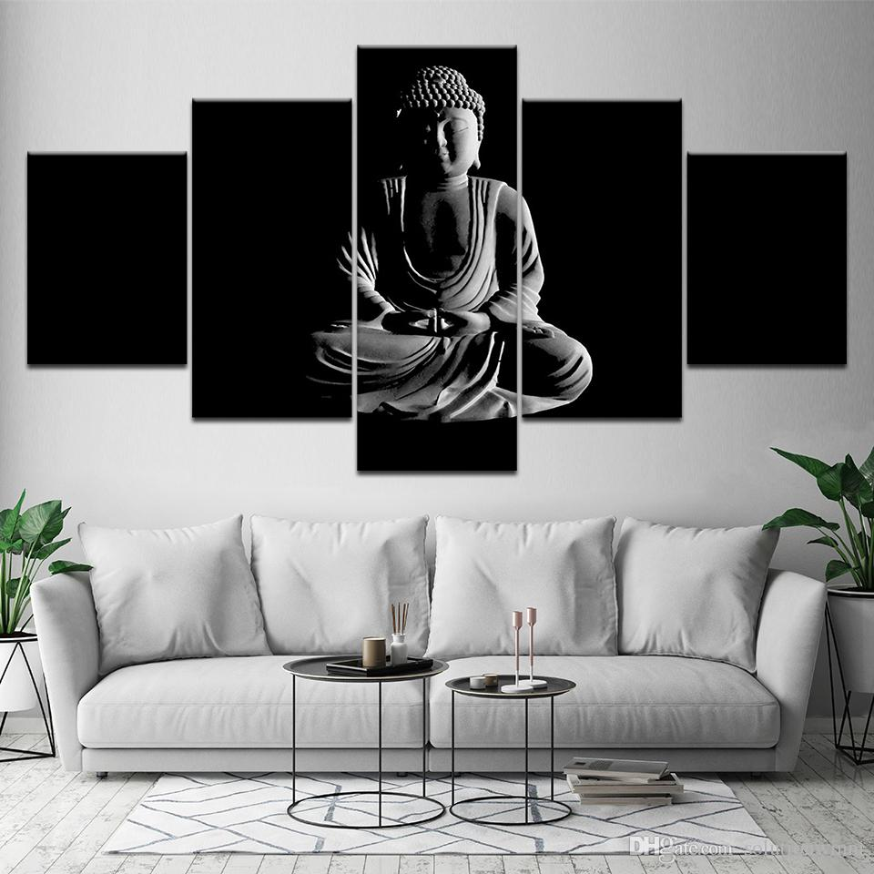 Canvas Painting Black And White Buddha 5 Pieces Wall Art Painting Modular Wallpapers Poster Print For Living Room Home Decor