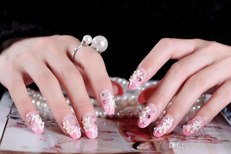 Long French False Nails Pink Acrylic Classical Full Artificial False Nails tips for Home Office faux ongles