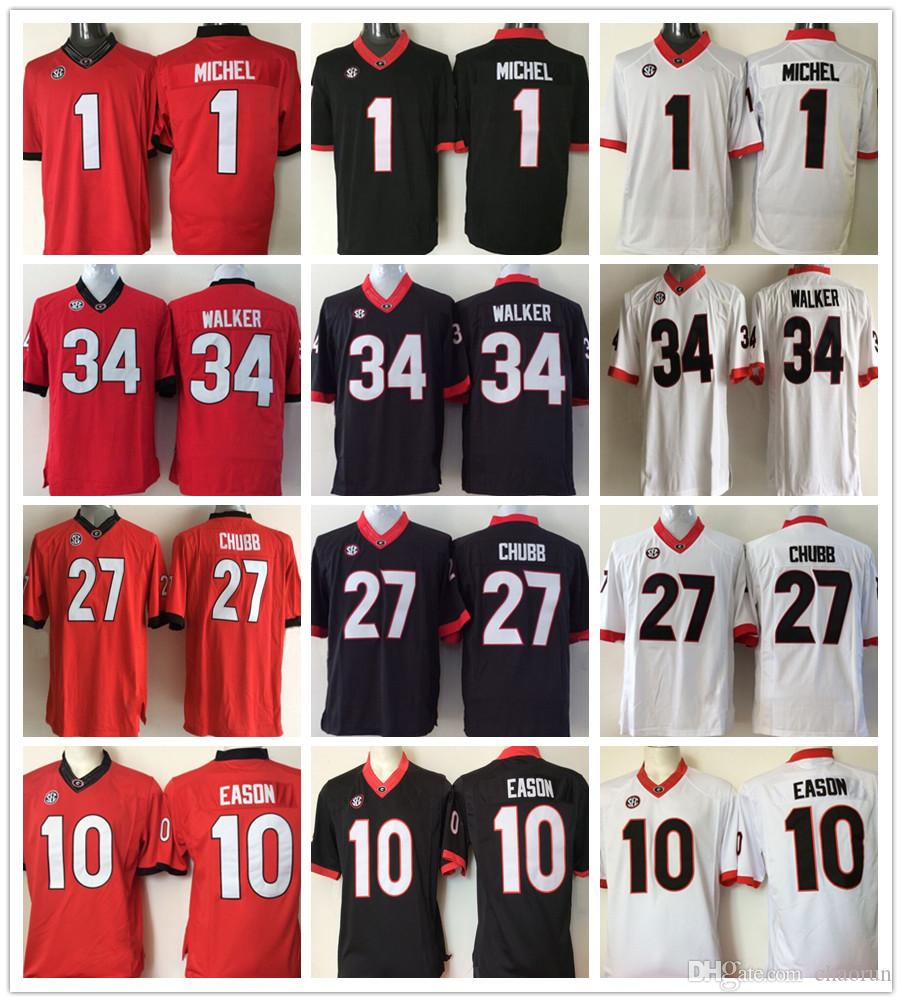 570ed62b5 Mens NCAA Jersey 1 Sony Michel 10 Jacob Eason 27 Nick Chubb 8 AJ ...