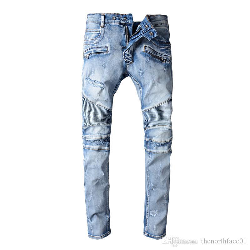 fa7bc82d 2019 Balmain Clothing Designer Pants Slp Blue Black Destroyed Mens Slim  Denim Straight Biker Skinny Jeans Men Ripped Jeans From Thenorthface01, ...