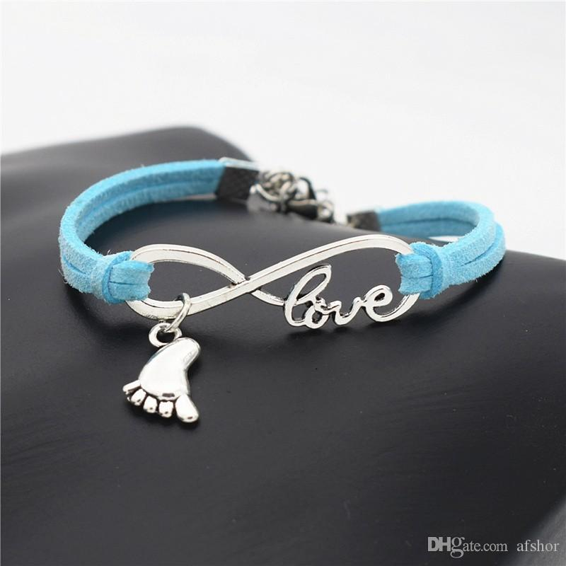 AFSHOR Unique Handmade Silver Infinity LOVE Words Wrap Leather Bracelet for Women Men Lovely Gift Baby Little Feet Charms Jewelry Bracelets