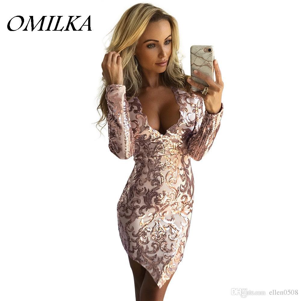 e160ded4fed7 OMILKA 2017 Autumn Winter Women Long Sleeve V Neck Sequin Mini Dress Sexy  Gold Silver Glitter Shiny Club Party Bodycon Dress Designer Formal Dresses  Prom ...