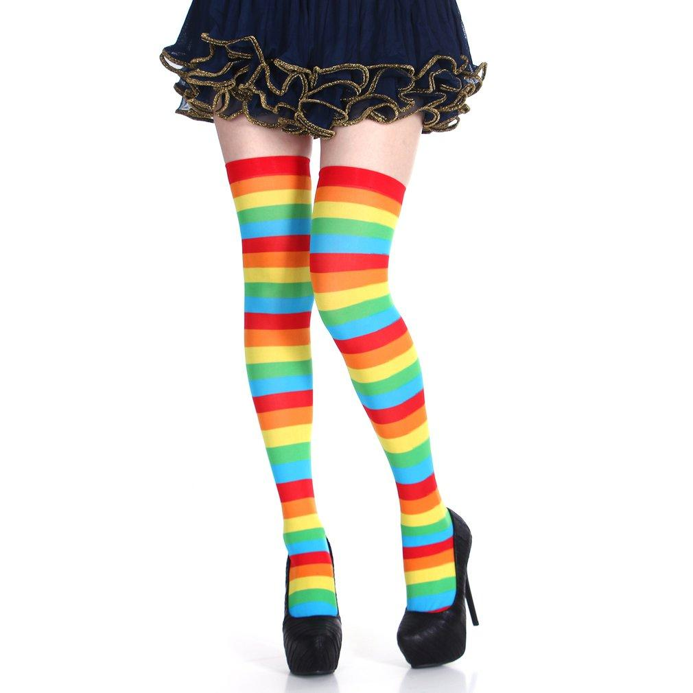 4b882a9ce 2019 Striped Socks Halloween Christmas Party Costumes Props Long Stockings  Over Knee Stockings Colorful Socks From Xiatian6