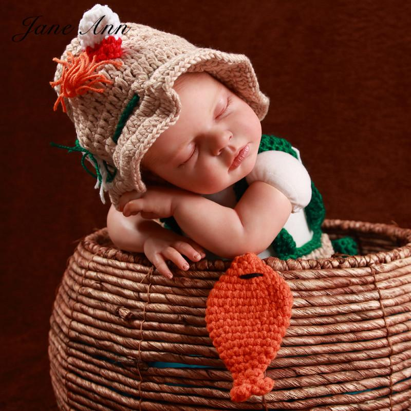 Jane Z Ann Newborn Baby Photography Props Crochet Infant Fishing Fisherman Costume Hat +Diaper +Shoes +Fish Studio Props