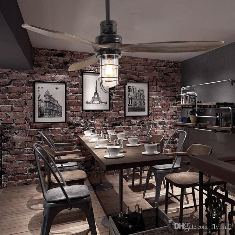 LED E27 Loft Iron Wood Glass Ceiling Fan LED Lamp Light LED Ceiling Lights Ceiling Lamp with Remote Control For dining room living room
