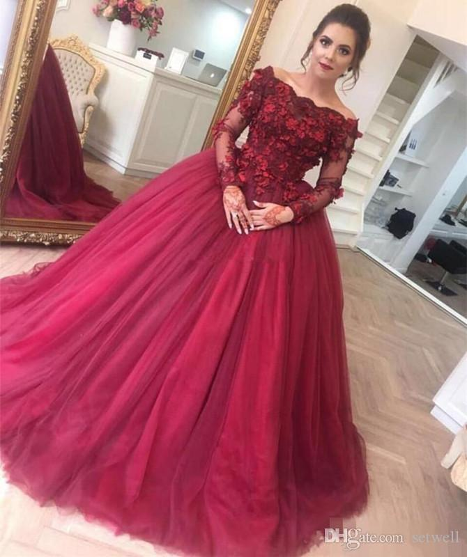 Elegant Burgundy Long Sleeves Evening Dresses With 3D Floral Applique Off Shoulder Ball Gown Prom Dress Soft Tulle Special Occasion Dress