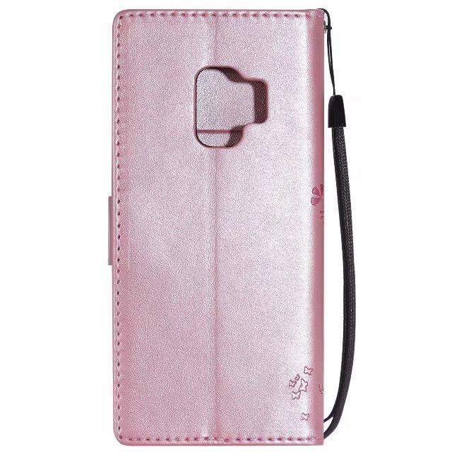 Carteira de couro capa para Iphone 12 Mini Pro MAX Samsung S9 PLUS A8 2018 LG Q6 Q8 V30 ZTE Lâmina A110 HTC U11 Levante Cat Strap Árvore telefone Tampa
