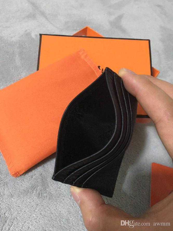 Ultra-ince Gerçek Deri KIMLIK Kartı Tutucu Moda Klasik Tasarım Erkekler / Kadınlar Kredi Kartı Tutucu Ince Banka KIMLIK Kartı Vaka Toz Çanta Ile Orijinal Kutusu