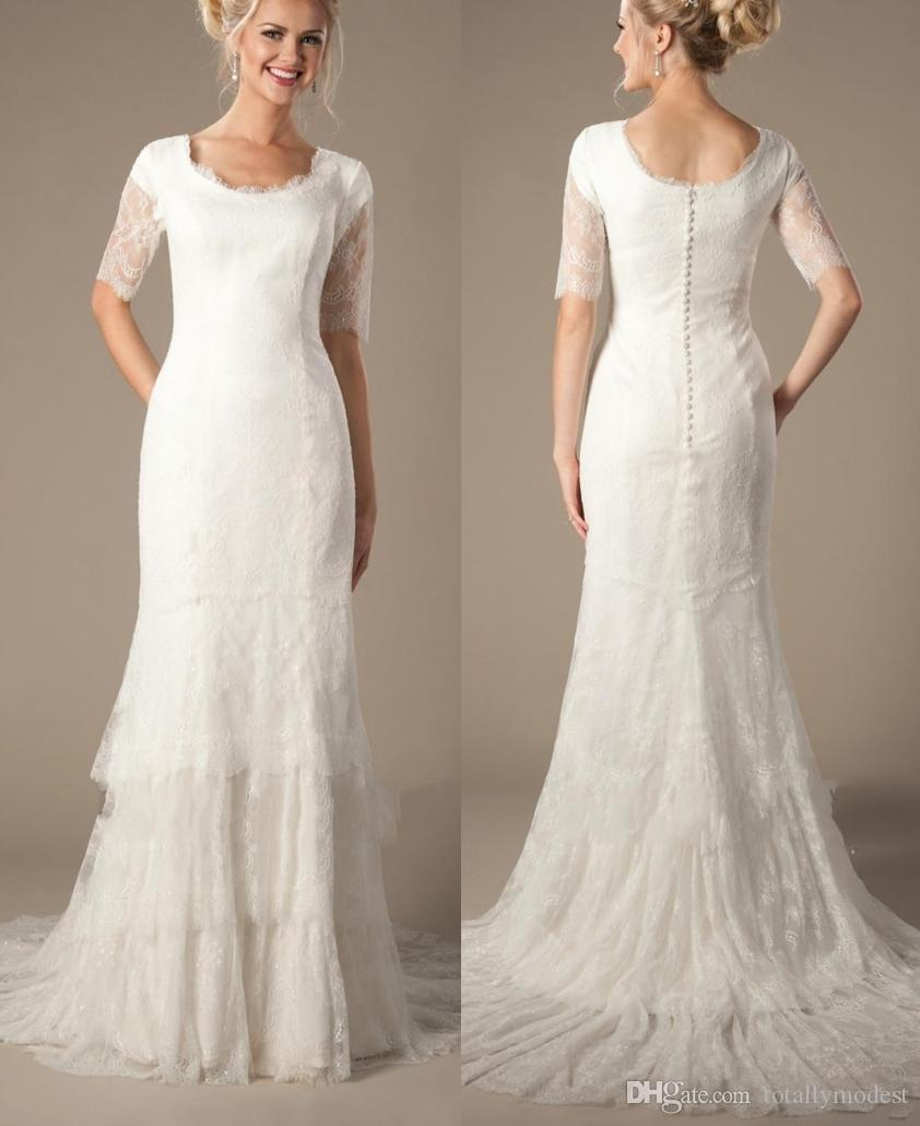 Vintage Lace Mermaid Modest Wedding Dresses With Half Sheer Sleeves