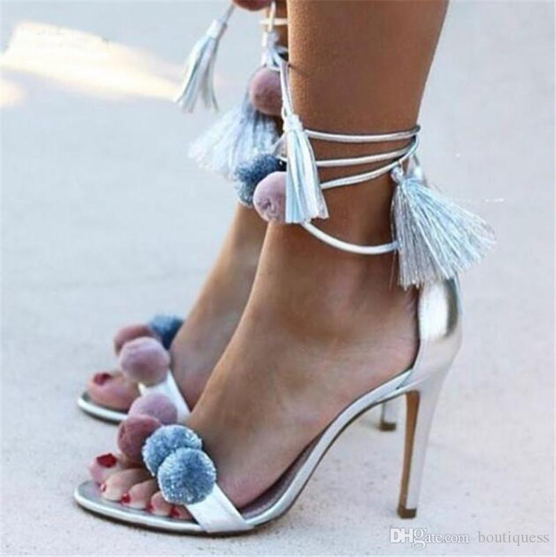 5adf55d351873f Sweet Women Sandals Candy Colors Ball Decoration Chunky Thick Heels Peep  Toe Slingback Lace Up Ankle Strap Wedding Party Dress Shoes Espadrilles  Birkenstock ...