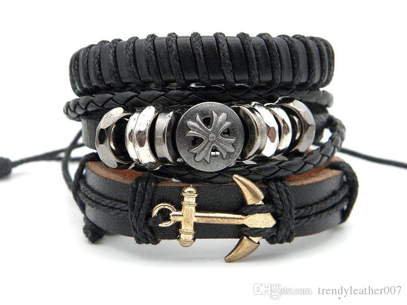 f4ab4de1645 2019 Factory Price Genuine Leather Wristband Bracelets Handmade Stylish  Skull Cross Ombination Leather Wrap Charm Bracelet Adjustable For Men From  ...