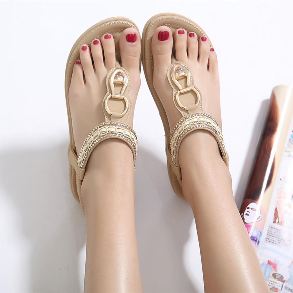 317553aae4e00 Fashion Leather Women Sandals Bohemian Diamond Slippers Woman Flats Flip  Flops Shoes Summer Beach Sandals Size10 YDT563 Silver Sandals Gold Sandals  From ...