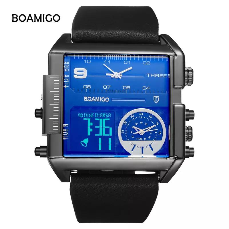 7ca9b82070 BOAMIGO Dual Display Watches Men LED Big Analog Waterproof Sports Digital  Quartz Black Watch Fashion Casual Leather Male Watches