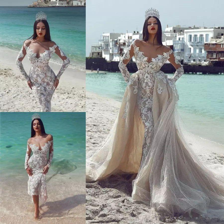 Vintage Mermaid Beach Wedding Dresses With Detachable Train Sheer ...