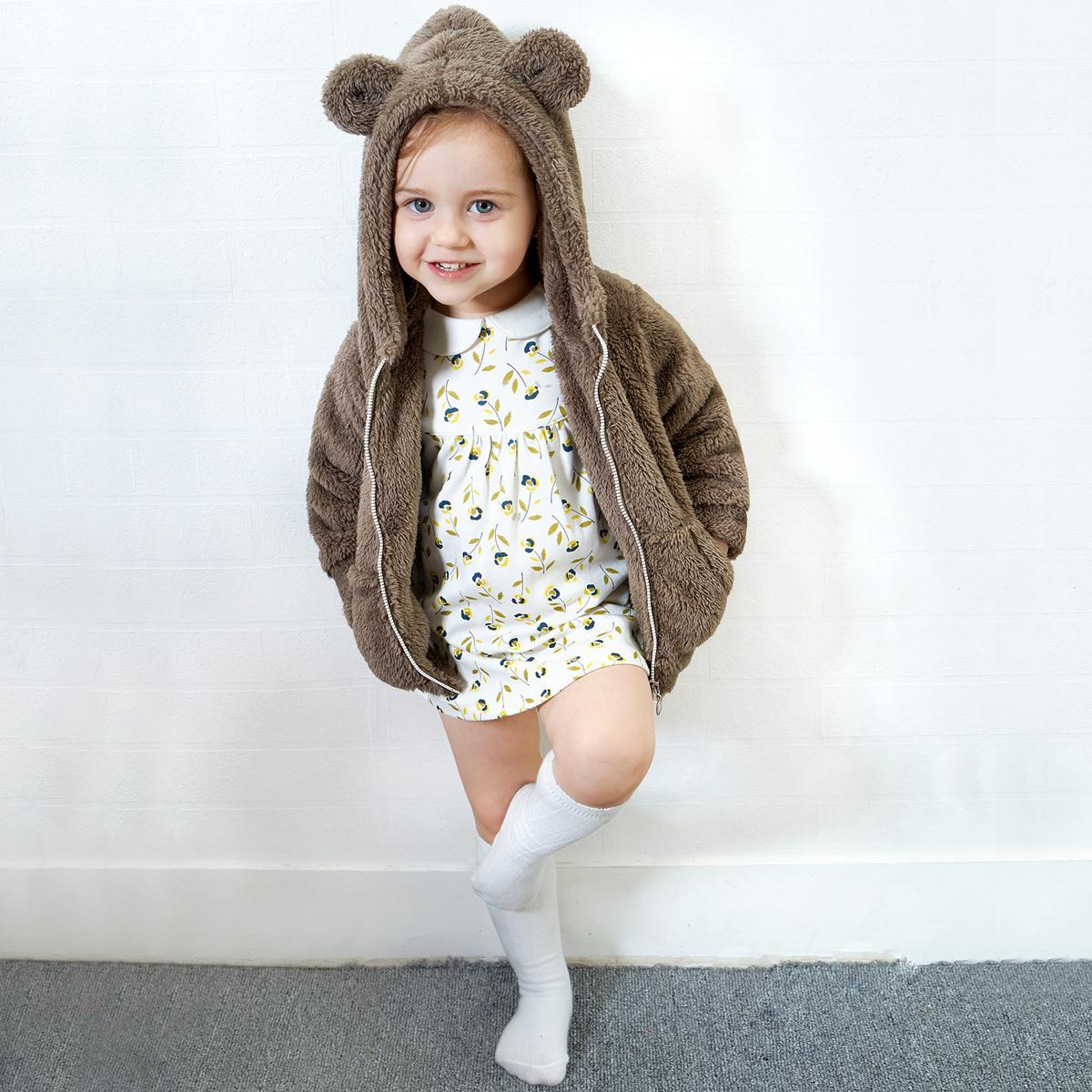 Yingzifang New Autumn Winter Baby Coat Boys Girls Cotton Cute Bear Jaket Parka Blazer Canvas Hooded Casual Kids Jacket Children Clothing Sports Suit Y18102508 Jackets