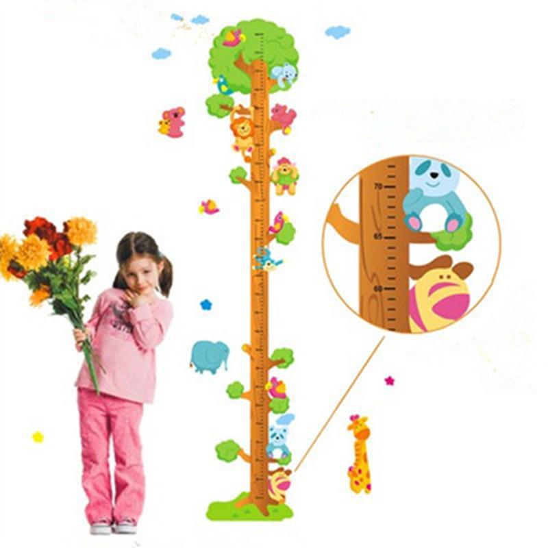 180cm Animal family Tree measure Height wall stickers for kids rooms baby Growth Chart children environmental cartoon pvc decals