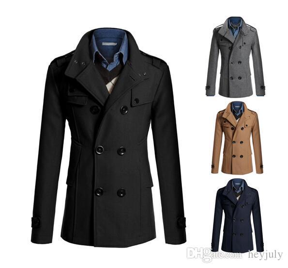 Brand Designer - Casual Zweireiher Mantel Männer britischen Stil Stehkragen Slim Fit langen Trenchcoat Herren Herren Wolle Pea Coat Manteau Homme f