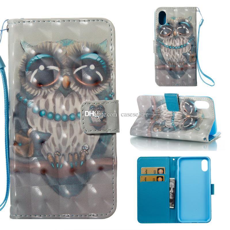 3D Dreamcatcher Flower mariposa ciervos de la torre Stand ID Card Cartera Funda de cuero para iphone X Xr XS Max Samsung S9 PLUS NOTE 9