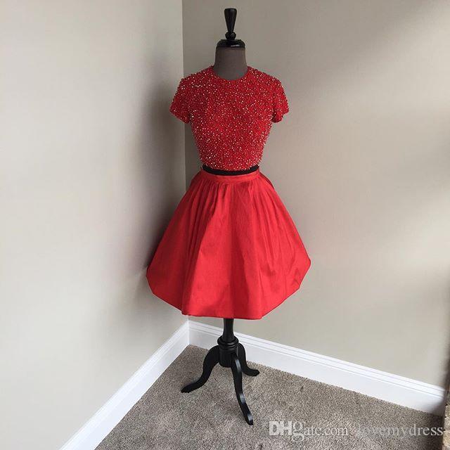 Abito vintage di ritorno a casa rosso con maniche corte a due pezzi Una linea di taffettà abito da cocktail di prom dress di laurea