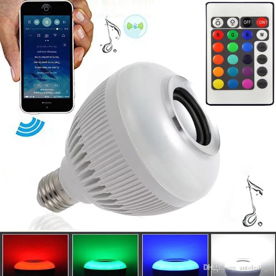 Wireless bluetooth 6W LED speaker bulb Audio Speaker E27 Colorful music playing & Lighting With 24 Keys IR remote Control