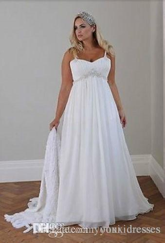 Plus Size Wedding Dresses 2018 Sexy Spaghetti Straps Beaded Chiffon Floor Length Empire Waist Elegant Bridal Gowns