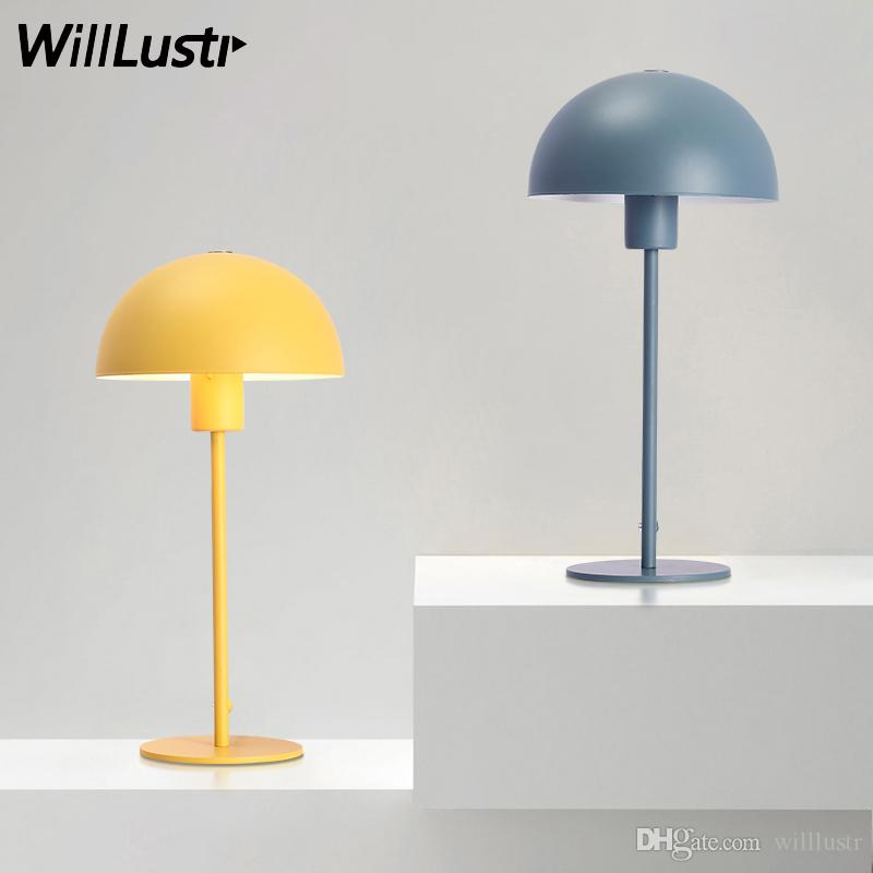 2019 Modern Iron Table Lamp Color Metal Table Light Living Room Bedroom  Table Lighting Iron Shade Bedside Flower Pot Desk Light Pink Yellow Blue  From ...
