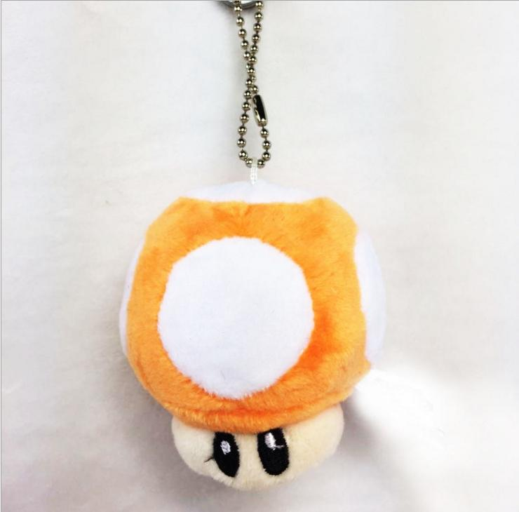 7cm Super Mario Bros Mushroom With Key Chain Plush Doll Toy kids gift Classic Pendant