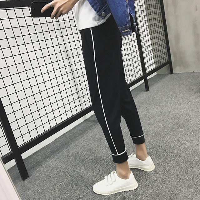 Acquista 2018 Nuovi Pantaloni Casual Da Uomo In Cotone A Righe Laterali  Pantaloni Eleganti Attivi Pantaloni Da Jogging Hip Hop Elastici Sportivi  Harem M 2xl ... 624bf81a5c02